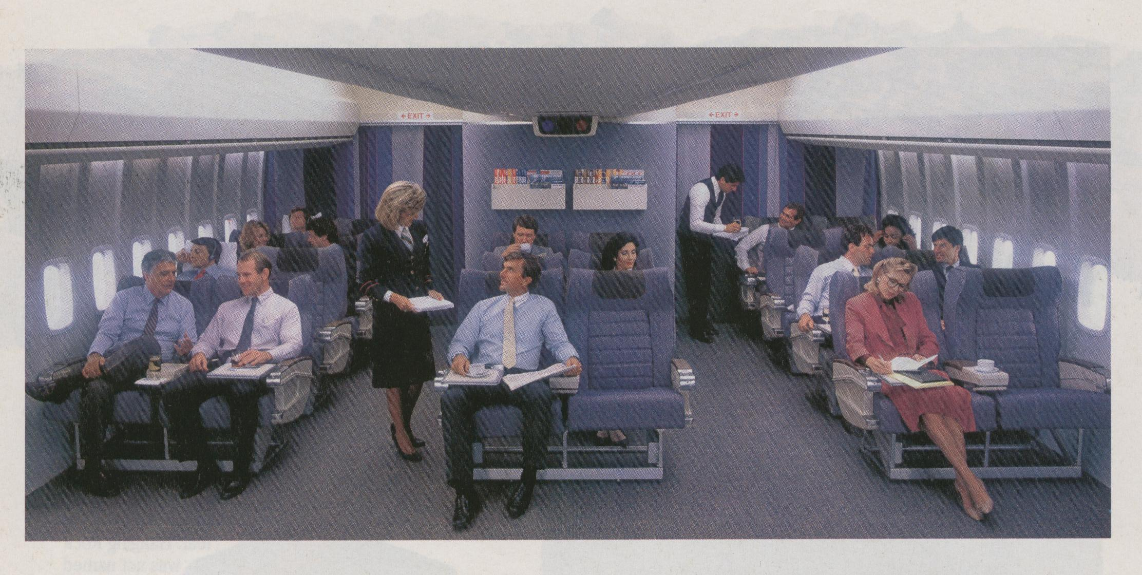 1990 A Pan Am 'Clipper Class' (business class) cabin with 6 across luxury seating.