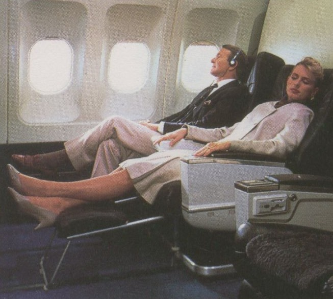 1990 The First Class Compartment with Sleeperette seats on a Pan Am Airbus A310.