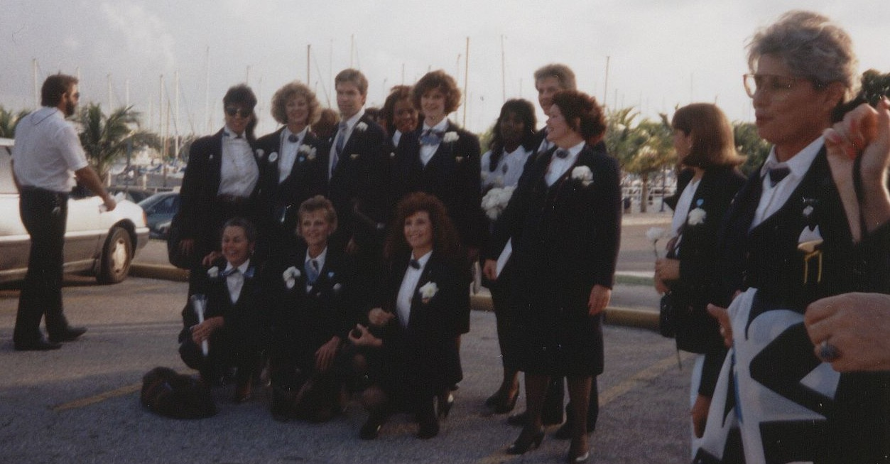 1991 Within a few days of Pan Am's final flight in December employees gathered at the company's former flying boat base at Dinner Key in Miami, Florida for a memorial to the company.  Everybody wore their uniforms one last time.
