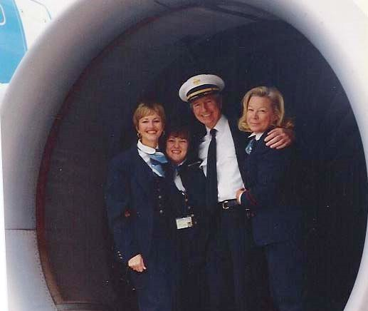 1991, October, Left to right Judy Skartvedt, Jan Pope, name of pilot not known and Doris Burke pose in the engine of an Airbus A310 at the airport in Rome, Italy.