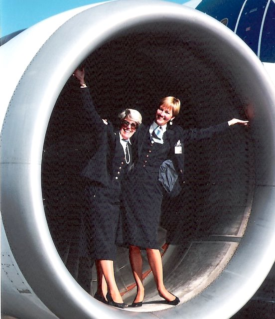 1991, October, Nancy Hite Speck on the left and  Judy Skartvedt  on the right pose for a photo in the engine of an Airbus A310 at the airport in Rome, Italy.