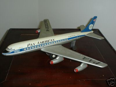 In the mid 1950s as Pan Am designed a new livery for jets a white globe on a blue tail was tested on several piston aircraft but never adopted for jets.  This model shows that design.