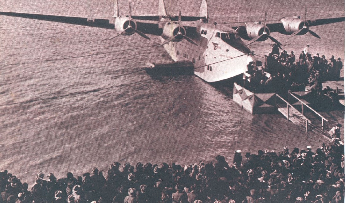 March 3, 1939 The Yankee Clipper is Christened by First Lady, Eleanor Roosevlet on the Anacostia River in Washington DC.