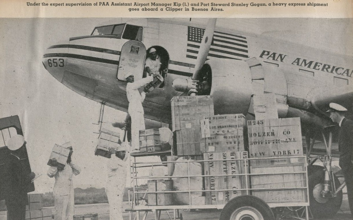 Pan American DC 3 tail number  NC25653 loading cargo in Buenos Aires, Argentina.