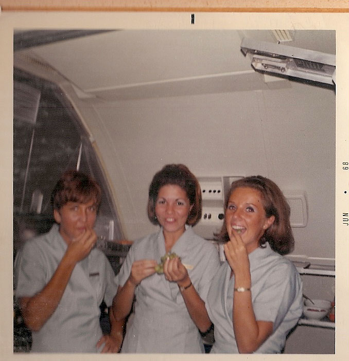 1960s en route to Sydney, Australia on the left is Cheryl.  Venice is in the middle and we are looking for the name of the Flight Attendant  on the right.