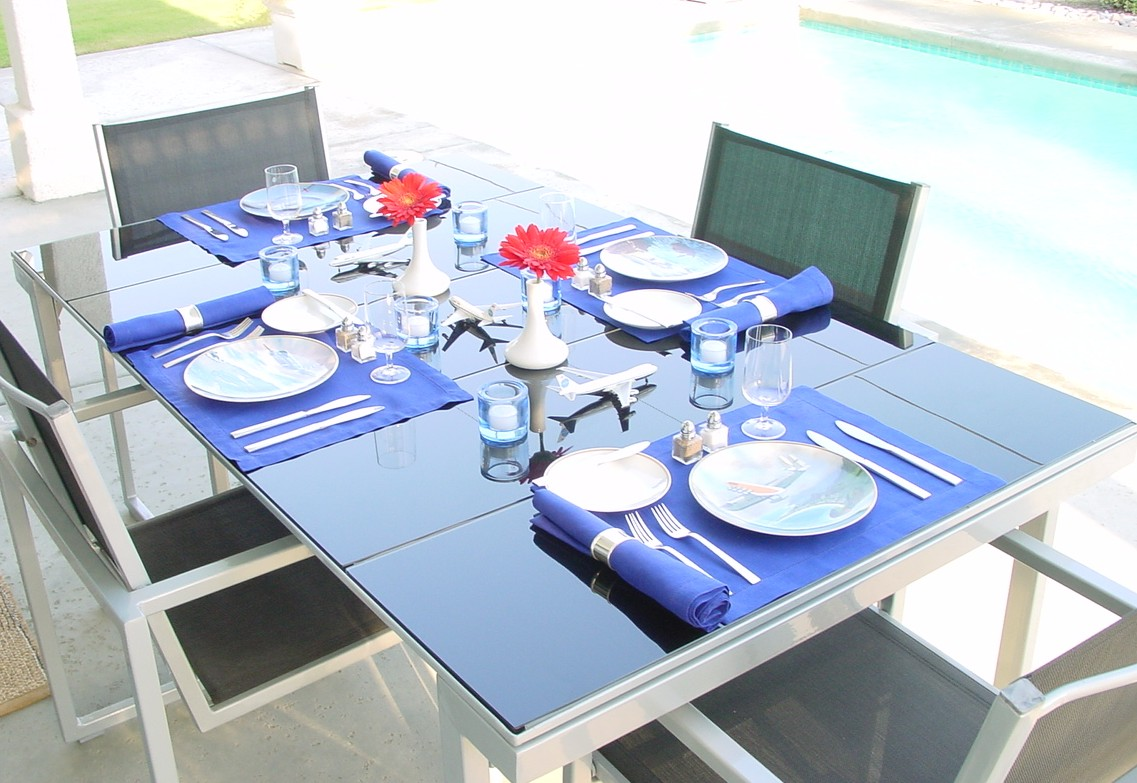 In 1979 Pan Am issued a series of 6 commemorative plates depicting aircraft as gifts for First Class service.  Those plates are seen here in this poolside brunch setting.