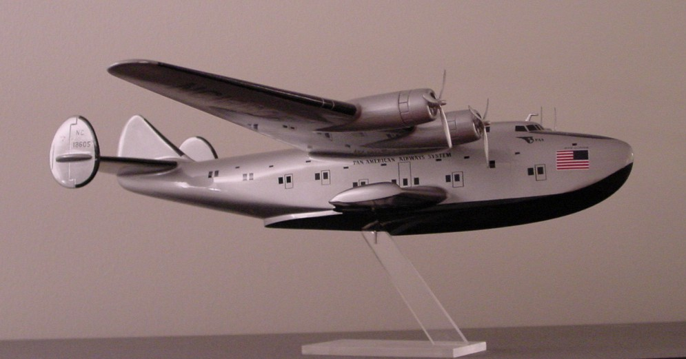 A large model of Pan American's Boeing 314 tail number N18605 the Dixie Clipper.