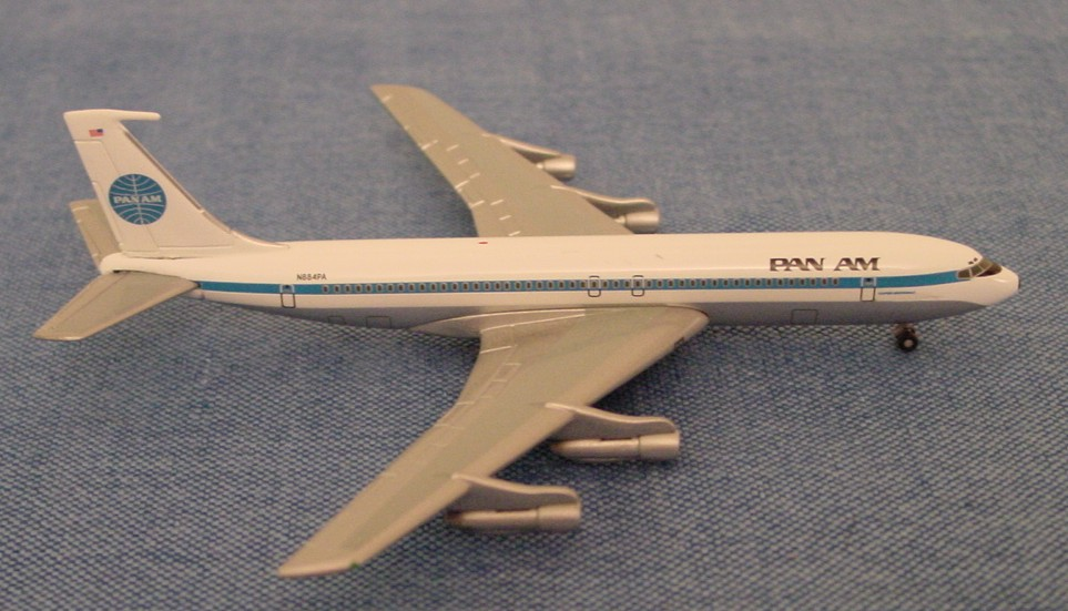 Pan Am Boeing 707 tail number N884PA Clipper Nightingale produced by Gemini Jets in 1:400 scale.