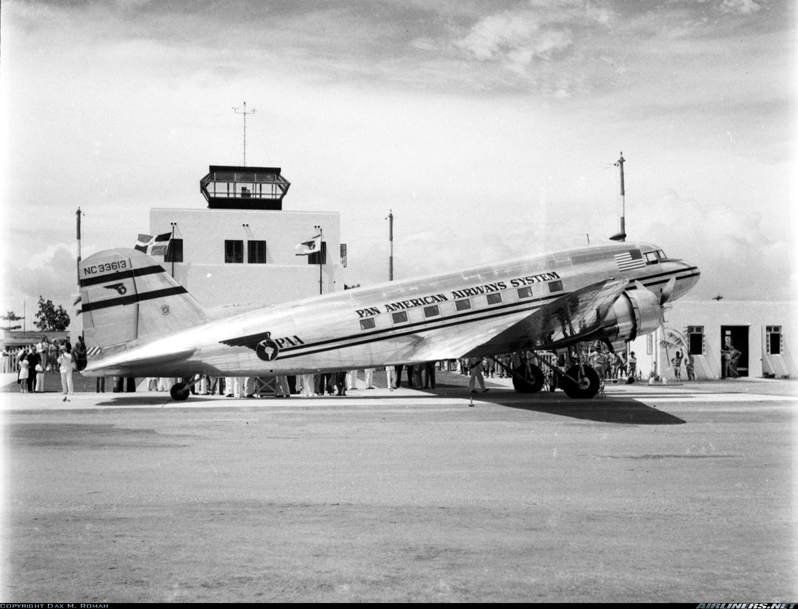 1944 Pan American DC 3 tail number N33613 on the ramp in Santo Domingo, Dominican Republic.