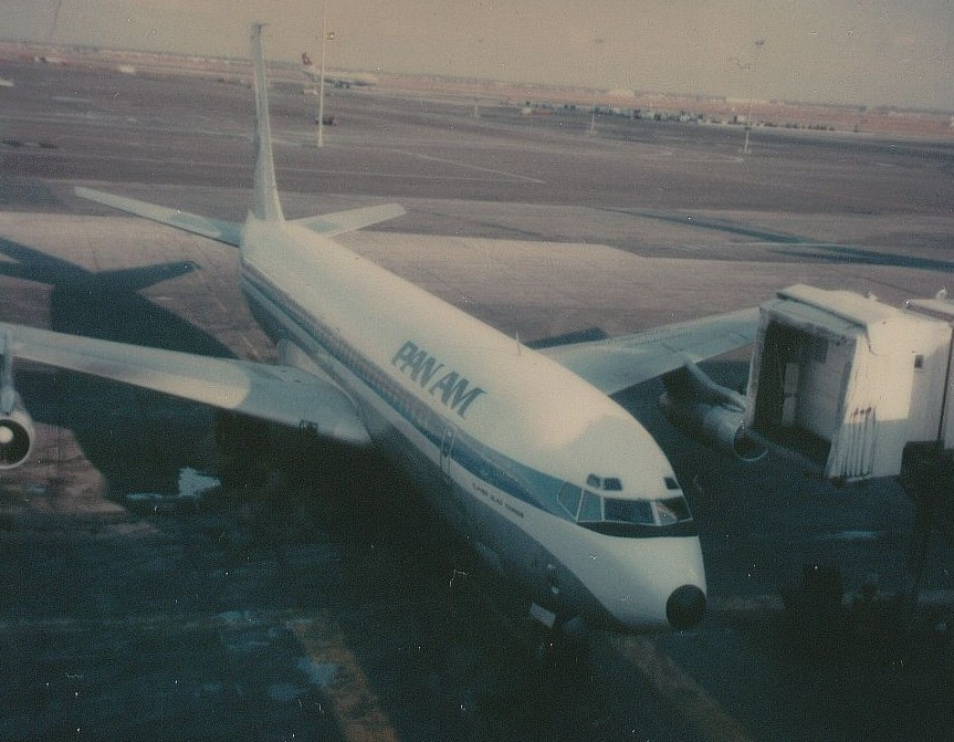 Pan Am Boeing 707 tail number N433PA Clipper Glad Tidings pulling up to the gate at New York JFK Airport November 24, 1978.