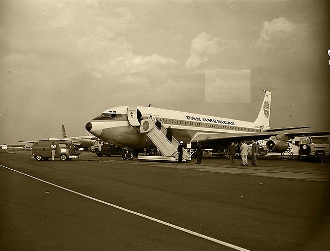 A ramp shot of Pan Am Boeing 707 tail number N715PA Clipper Liberty Bell.