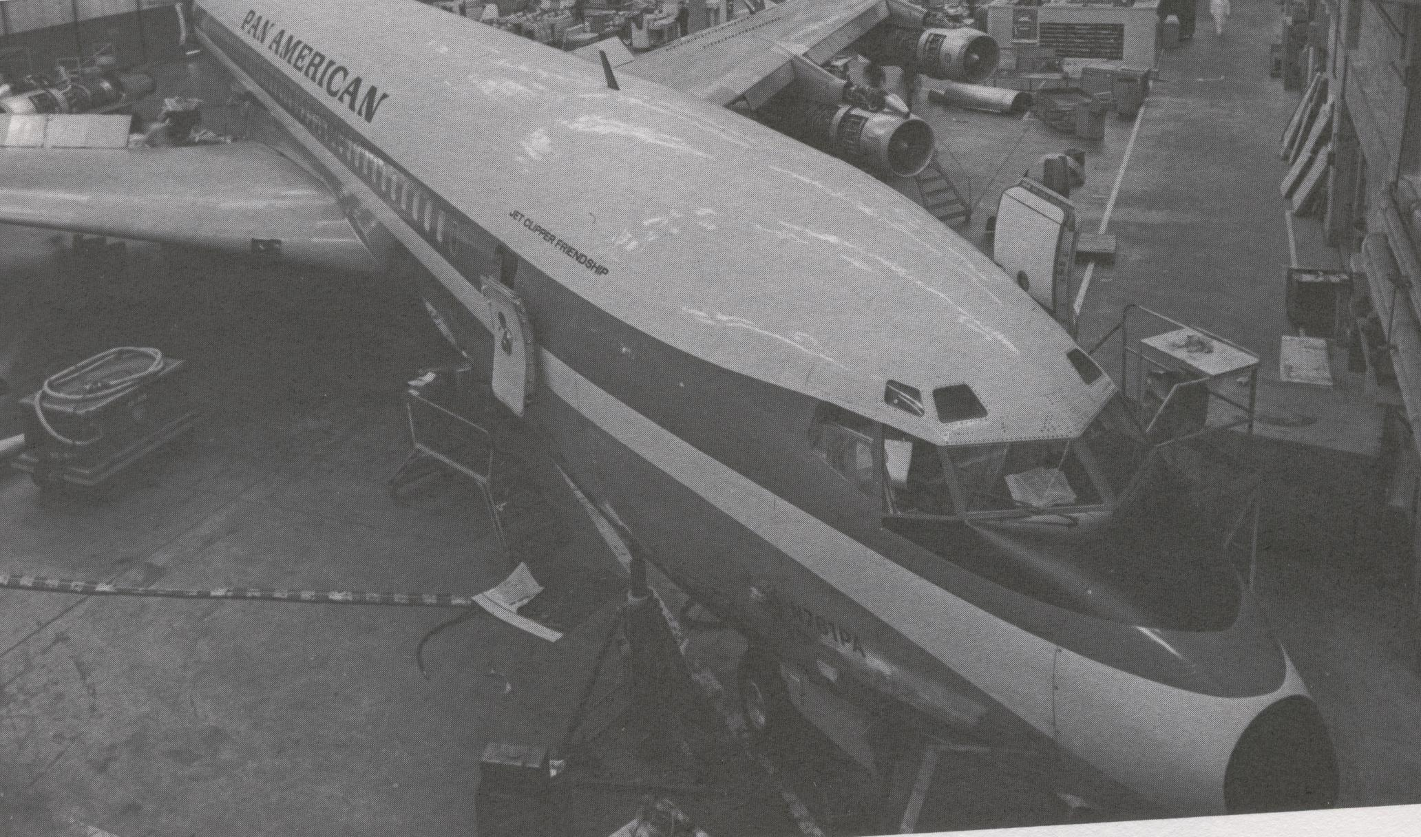 Pan Am Boeing 707 tail number N761PA Clipper Friendship in the hanger for overhaul.