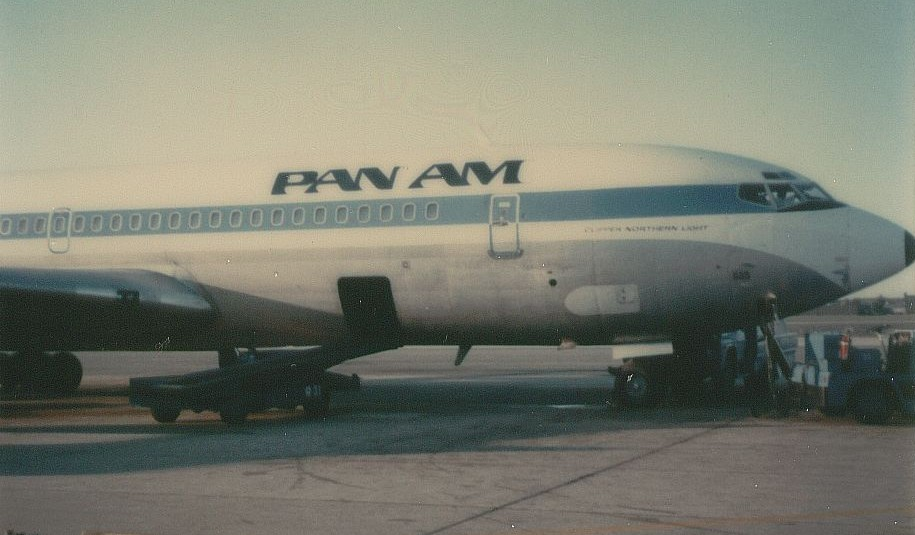 October 1979 Pan Am Boeing 707 tail number N885PA Clipper Northern Light on the ramp at Washington Dulles Airport.
