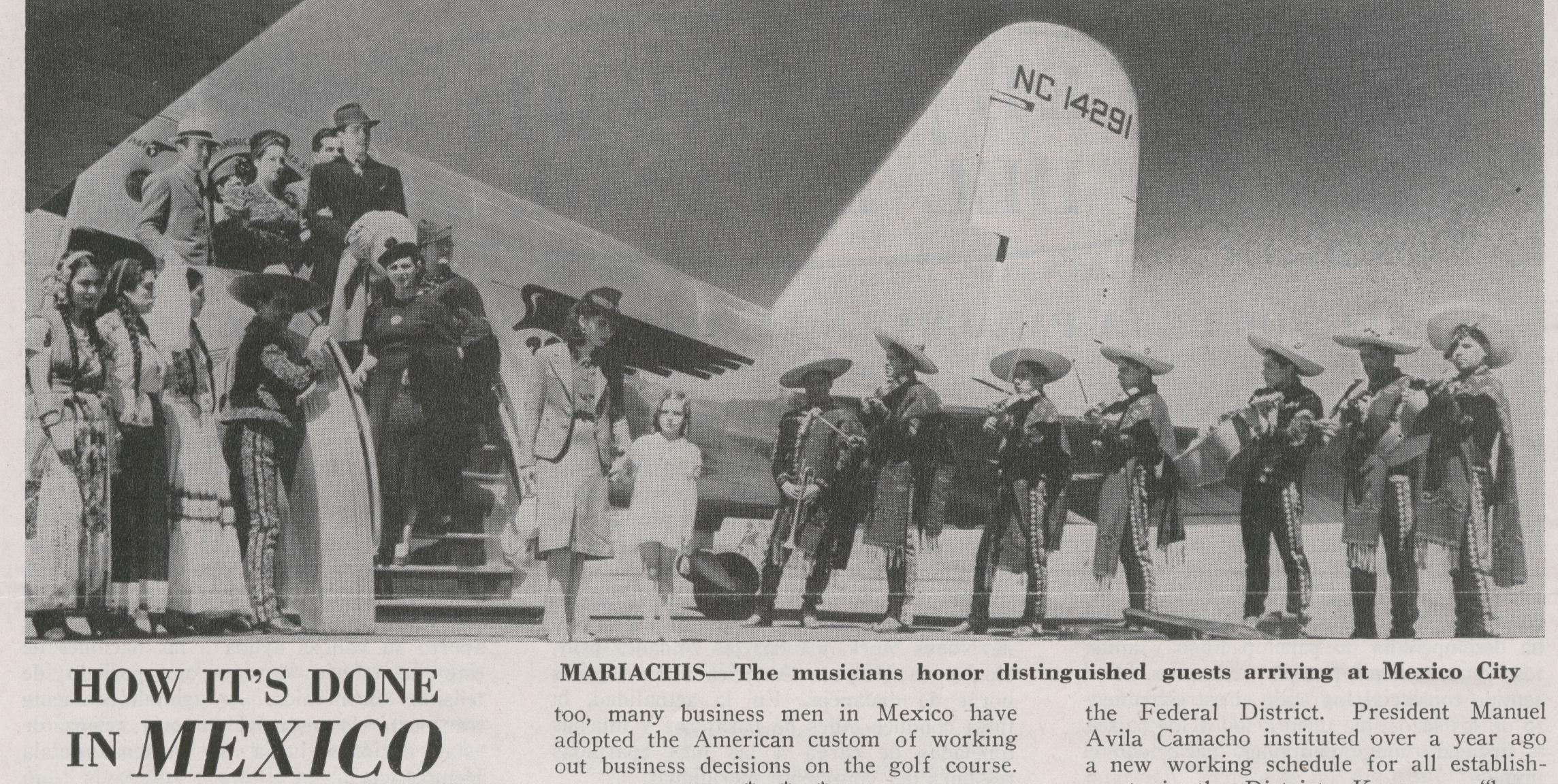 November 1945 a Mariachi band poses by DC2 tail number NC14291.