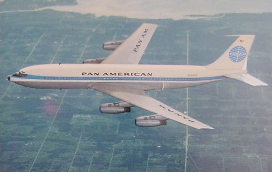 1950s An early post card picture of a Pan Am 707 in-flight.