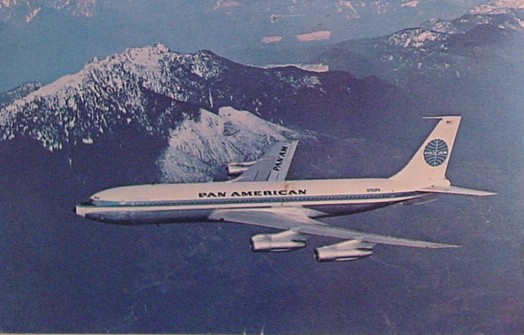 1960s A Pan Am 707 in-flight.