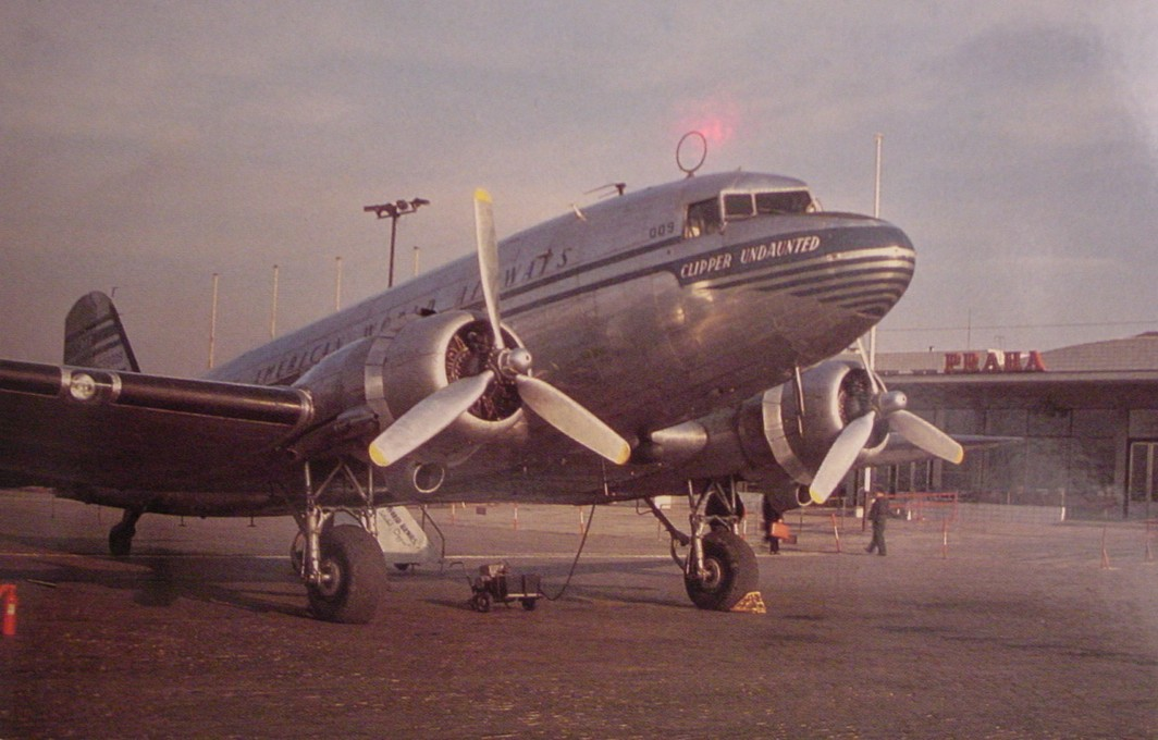 1950s A Pan American DC3 on the ramp in Prague Czech Republic