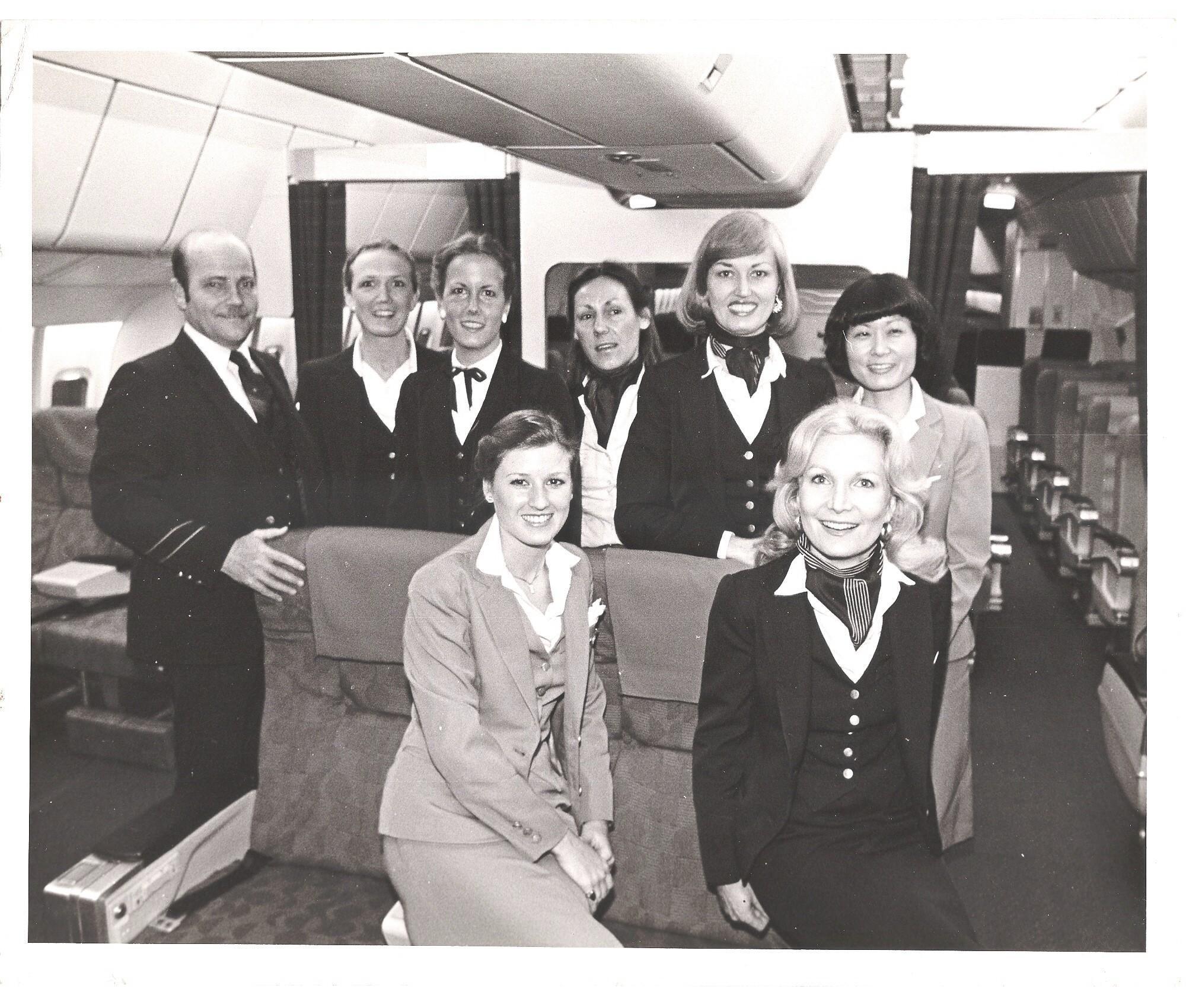 1980s Purser Ray LeDour posing with fellow crew members in the first class cabin of a Pan Am Lockheed L1011-500.  This aircraft only servced in the Pan Am fleet for 6 years.