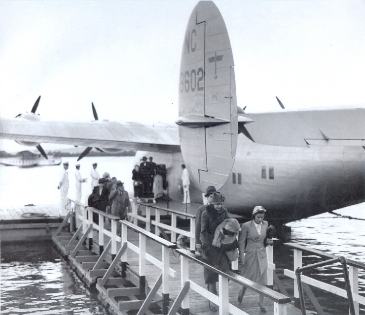 1939 First Arrival of a Boeing B314 in Honolulu.  The Aircraft was named California Clipper.
