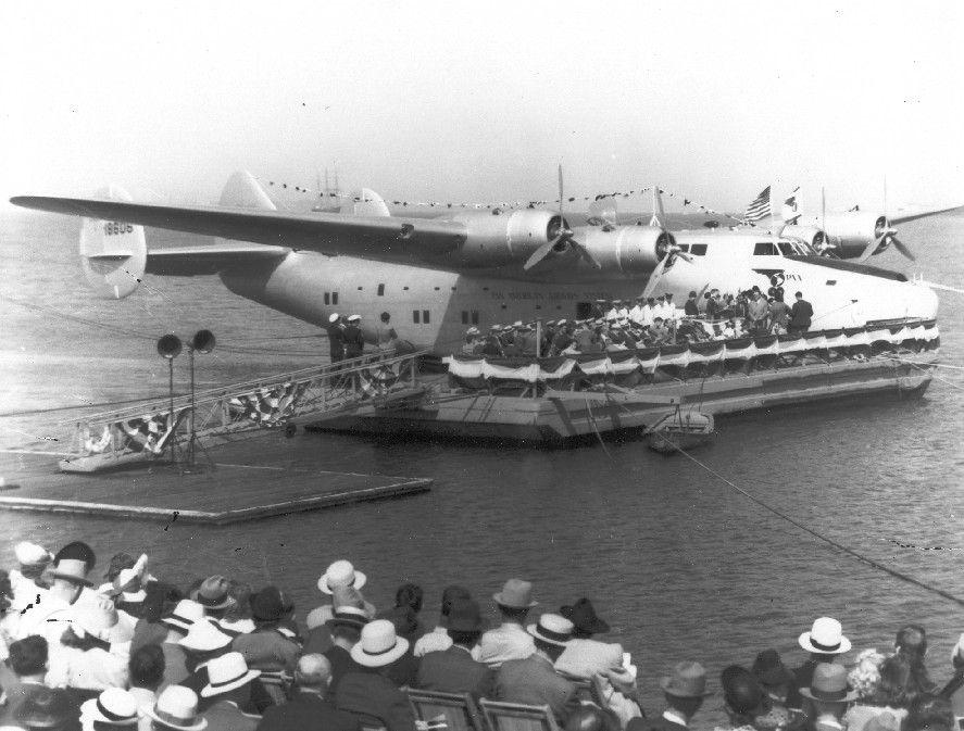1939 July 6 Boeing B314 NC18606 American Clipper Christening Reeves Field, Treasure Island San Francisco.