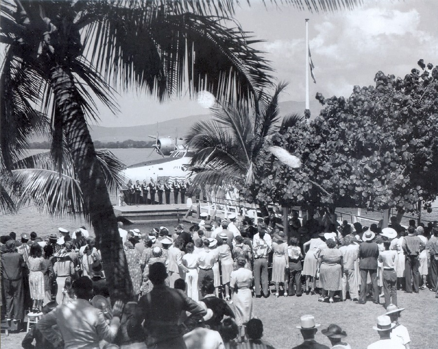 1939 Boeing B314 NC18601 California Clipper Christening Ceramony in Honolulu.
