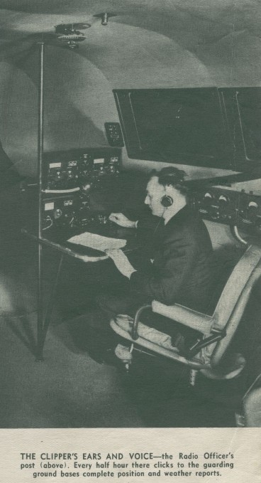 1940 Boeing B314  radio operator station on the upper deck cockpit.