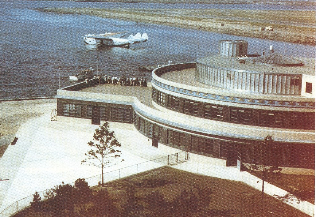 1940 Boeing B314 Moored at New York's LaGuardia Marine Air Terminal