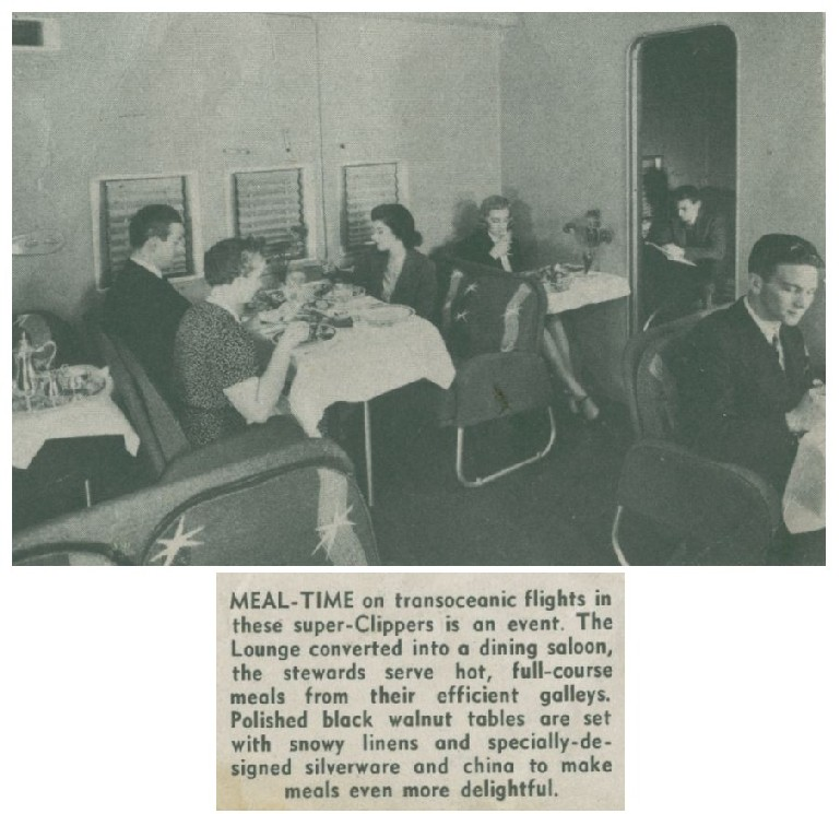 1940s Boeing B314 main lounge in use for passenger dinning