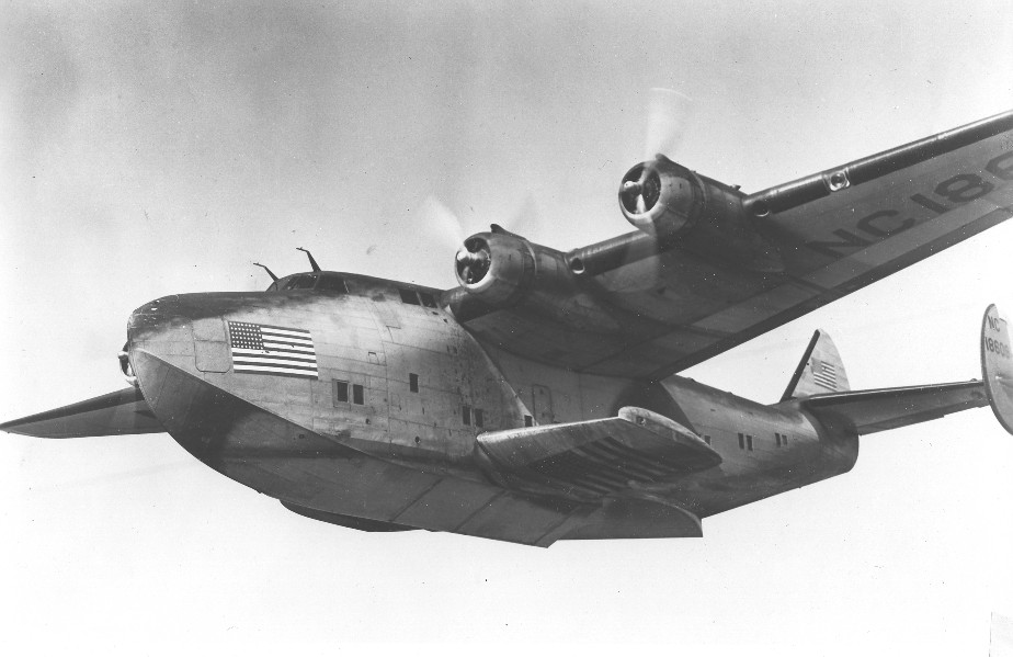 1940s Boeing B314 in-flight war camoflage.  Pan Am operated the entire B314 fleet in service to the Navy for the duration of World War II