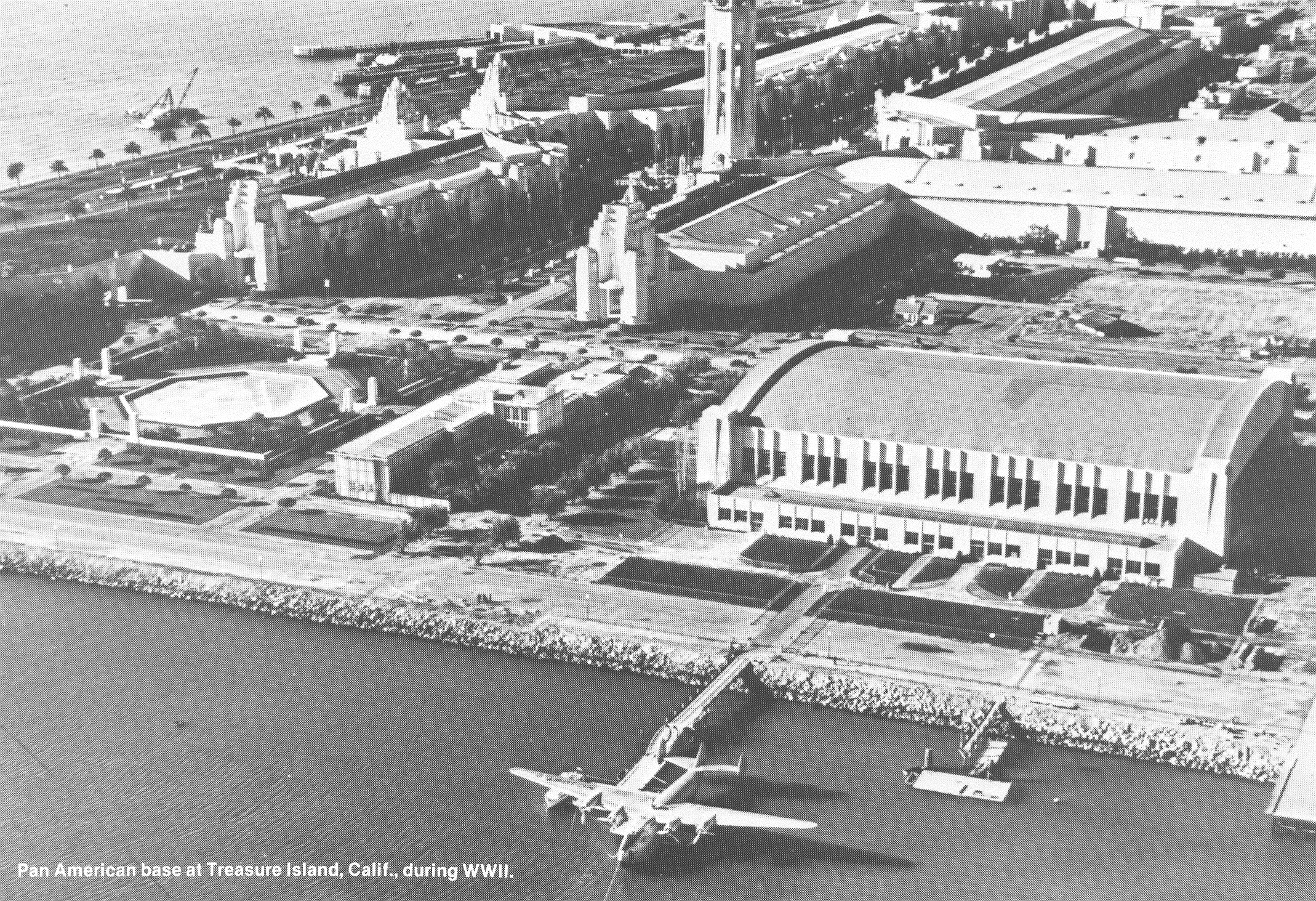 1940s Treasure Island base San Franciswco with Boeing B314 moored.  Treasure Island was one of 3 large flying boat bases along with the Marine Air Terminal in New York and Dinner Key in Miami.
