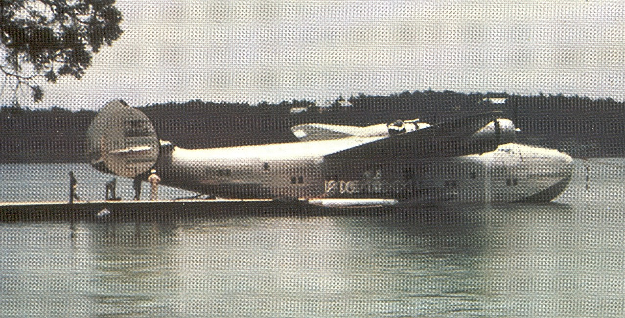 Boeing B314 rigistration NC18612 Capetown Clipper moored in Bermuda Harobr