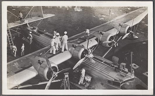 1930s A Pan American Sikorsky S-42 undergoing a dock side maintenance overhaul.