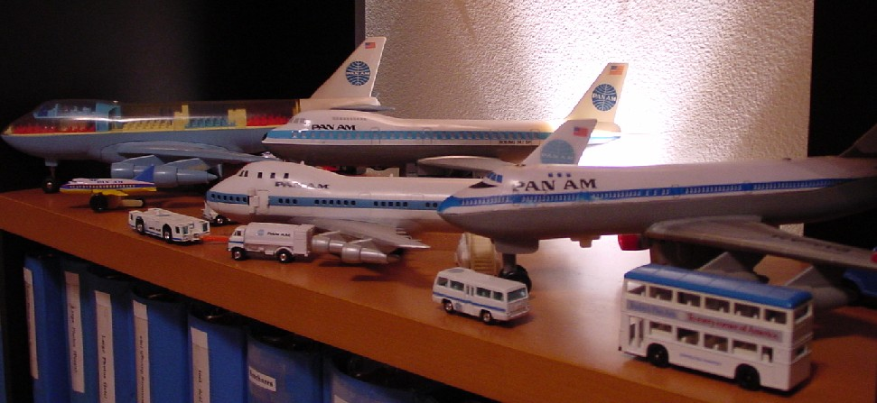 Through the years various manufacturers produced toy models for children.  Seen here are a group of Boeing 747 models.