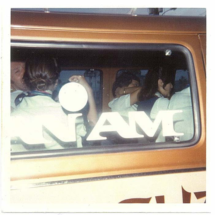 1970s Pan Am crew members depart the airport on Guam in the hotel crew van for a well deserved rest.