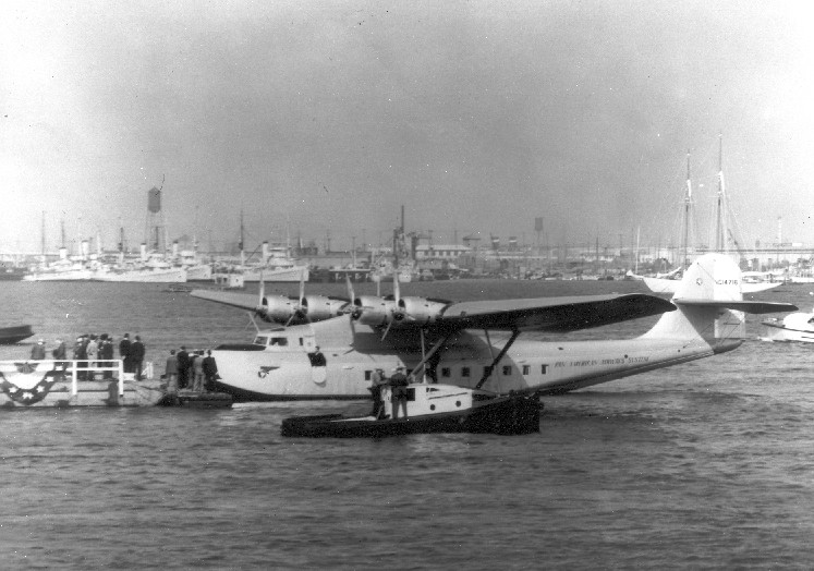 1935 Martin M130 aircraft NC14716 China Clipper moored at San Pedro Los Angeles Harbor